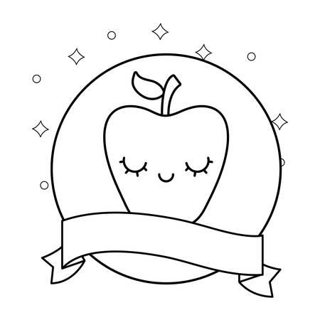 fresh apple with ribbon character vector illustration design