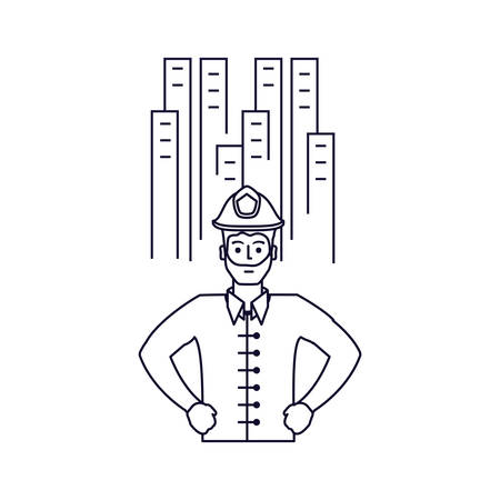 firefighter professional with cityscape isolated icon vector illustration design Illustration