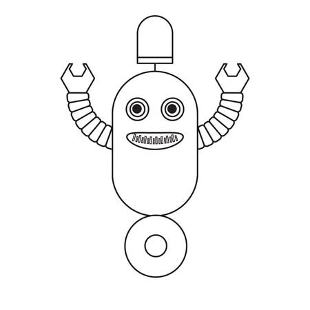 cartoon robot icon over white background black and white design vector illustration Vectores