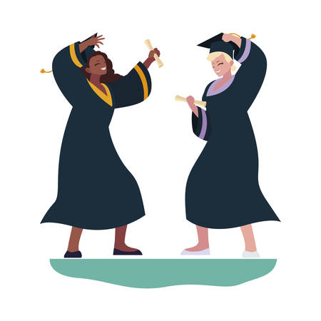 interracial women students graduated celebrating vector illustration design