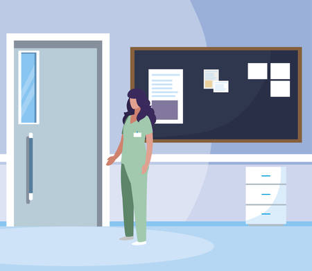 female medicine worker with uniform in hospital corridor vector illustration design