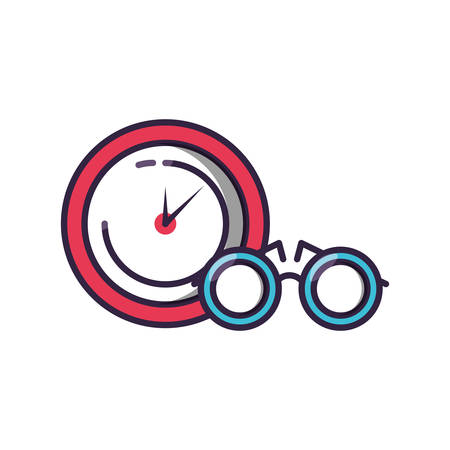 clock time with eyeglasses isolated icon vector illustration design