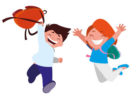 happy little school kids characters vector illustration design
