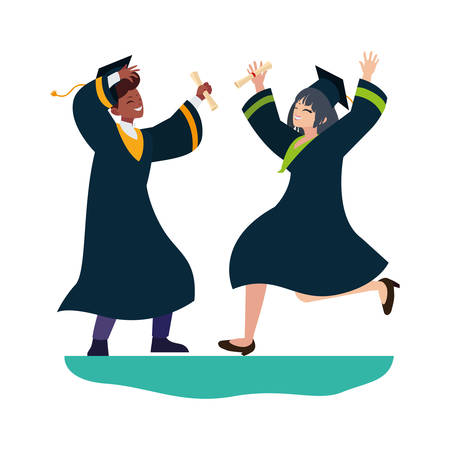 interracial couple students graduated celebrating vector illustration design