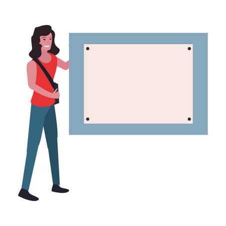 woman photographer board labour day vector illustration