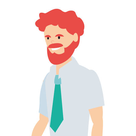 businessman character avatar with necktie vector illustration