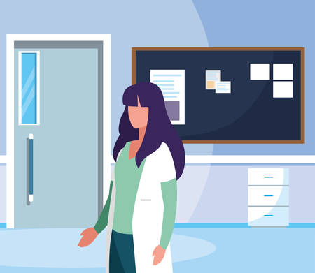 female medicine worker in hospital corridor vector illustration design