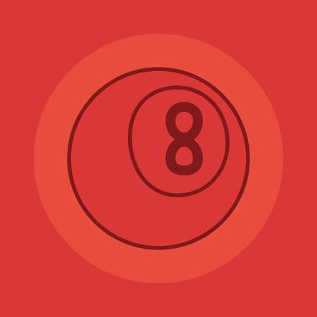 billiard ball sport on red background vector illustration design