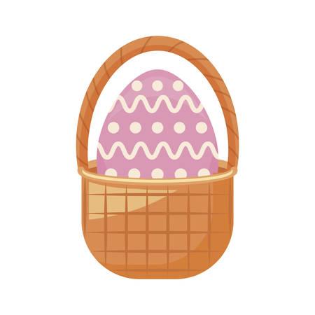 egg of easter in basket wicker vector illustration design Ilustração