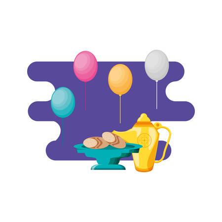 ramadan kareem traditional food and balloons helium vector illustration design Illustration