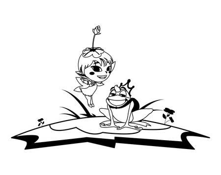 beautiful magic fairy with toad prince in the garden vector illustration design Ilustração