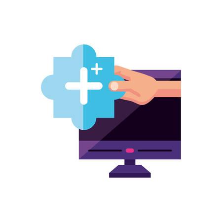 desktop with user hand and plus symbol vector illustration design