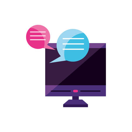 desktop with chat bubbles app vector illustration design Ilustração
