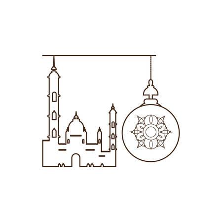 ramadan kareem lantern hanging with mosque building vector illustration design Illusztráció