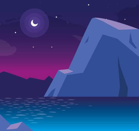 nightscape with lake scene icon vector illustration design
