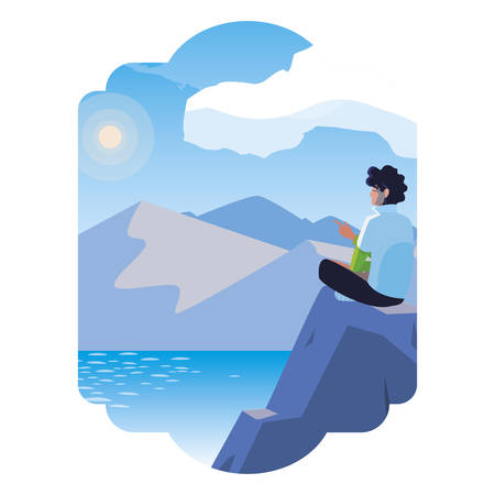 man contemplating horizon in lake and mountains scene vector illustration design Иллюстрация