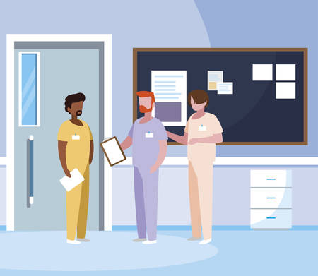 interracial male medicine workers in hospital corridor vector illustration design