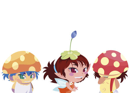fungus elfs and fairy magic characters vector illustration design