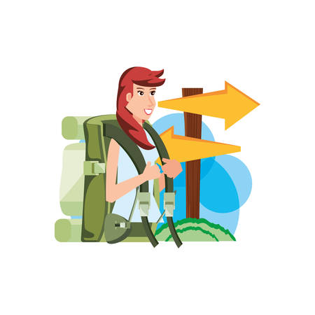 traveler woman with travel bag and wooden arrows signal vector illustration design