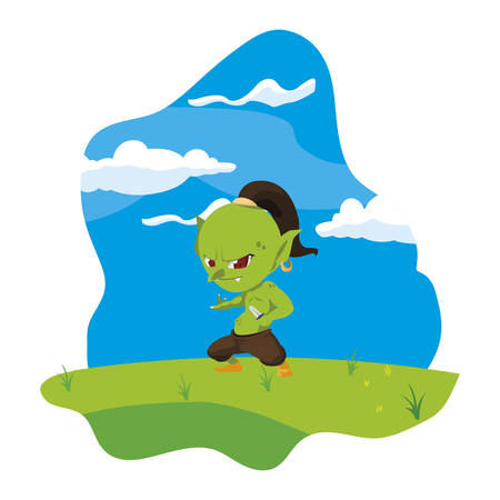 ugly troll in the camp magic character vector illustration design Illustration