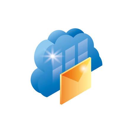cloud computing server with envelope vector illustration design Ilustração