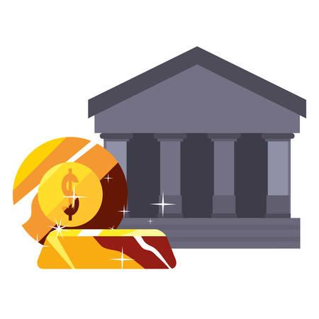 bank saving coin gold bar business vector illustration