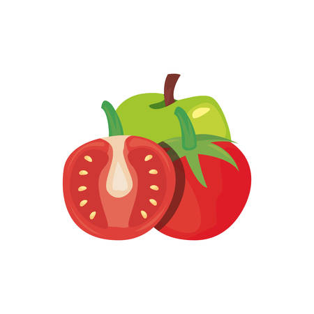 tomato apple fresh food vector illustration design