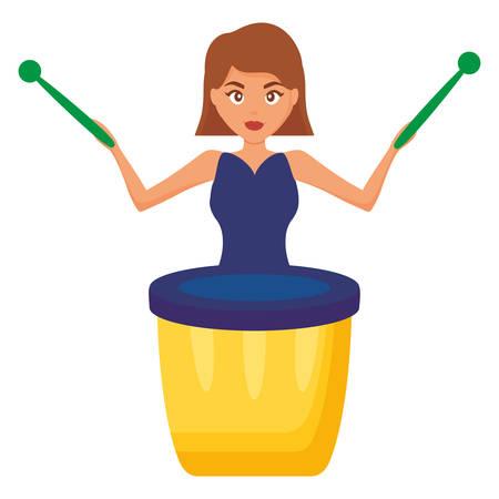 woman playing carnival bongo instrument vector illustration design Ilustração