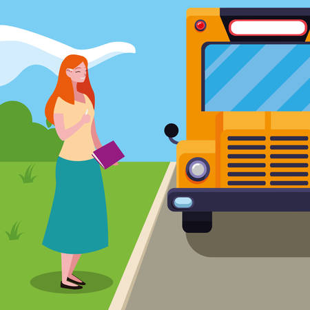 female teacher in bus stop vector illustration design 向量圖像