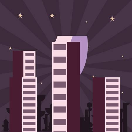 futuristic city urban space night vector illustration design