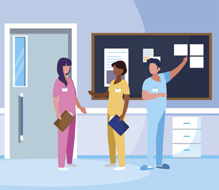 interracial group medicine workers in hospital corridor vector illustration design