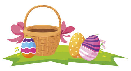 happy easter eggs painted in the basket vector illustration design