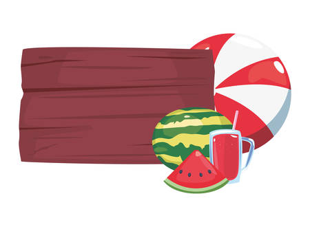 summer time holiday ball watermelon juice wooden board vector illustration