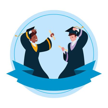 interracial students boys graduated celebrating vector illustration design