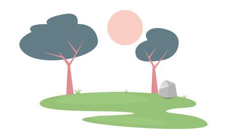 landscape forest trees botanical natural vector illustration Ilustracja