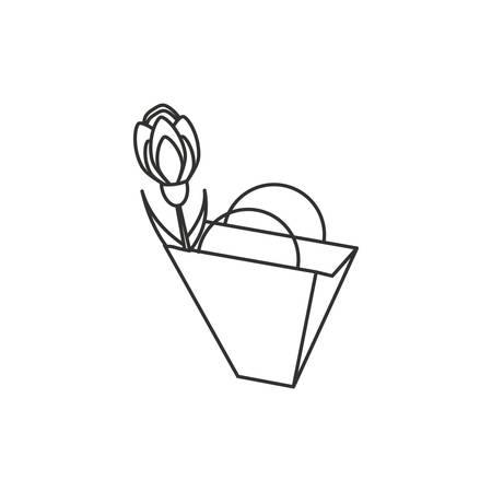 natural flower with bag shopping vector illustration design