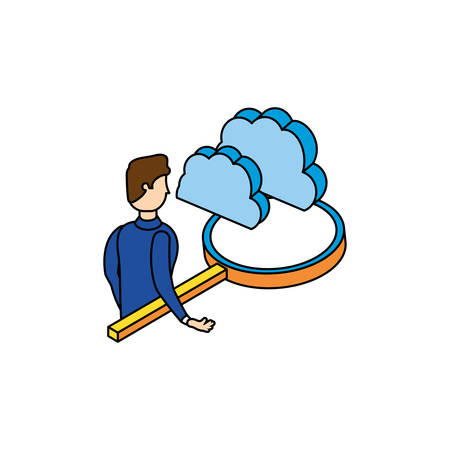 businessman worker with magnifying glass and cloud vector illustration design