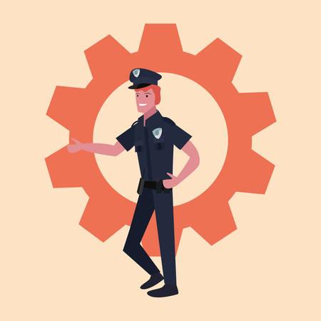 policeman profession labour day vector illustration design