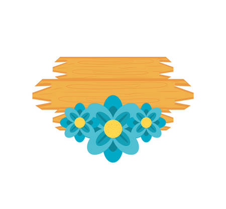 wooden label with flowers natural isolated icon vector illustration design
