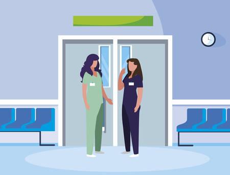 female medicine workers in elevator door vector illustration design
