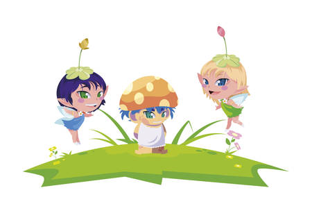 beautiful magic fairies with fungu elf in the garden vector illustration design 向量圖像