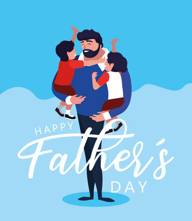 happy father day card with dad and children vector illustration design 向量圖像