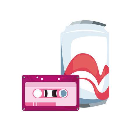 soda drink cassette music retro 80s style vector illustration