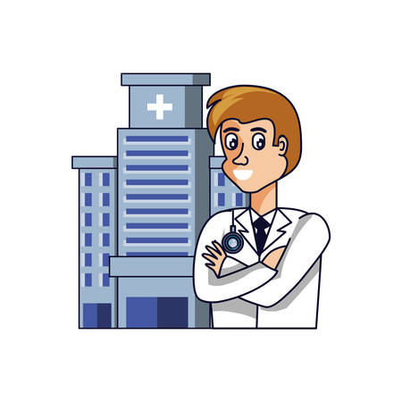 doctor professional with hospital facade vector illustration design Ilustracja