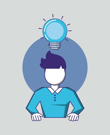 man with bulb light vector illustration design