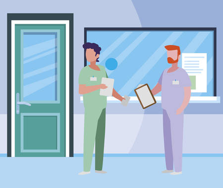 male medicine workers in hospital reception vector illustration design Ilustracja