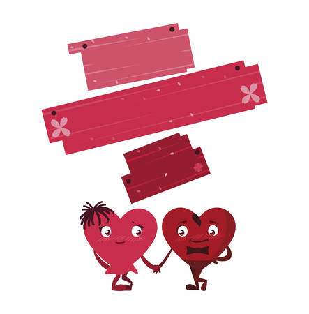 couple hearts with wooden label  characters vector illustration design