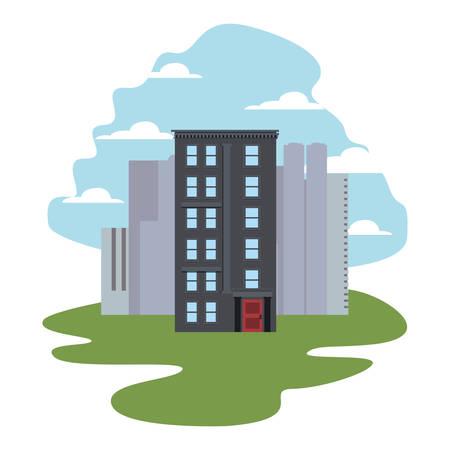 urban buildings city scene street vector illustration  イラスト・ベクター素材