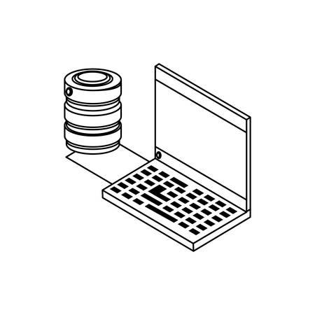 laptop computer with data disks vector illustration design