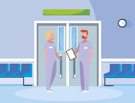 couple medicine workers in elevator door vector illustration design Illustration